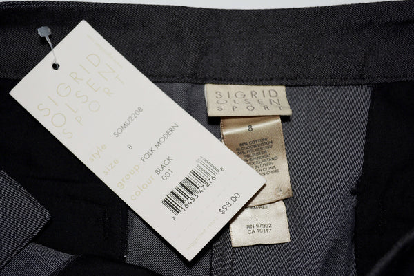 Women's Black Sport Pants by SIGRID OLSEN, Size 8, 65% Cotton, 34% Polyester and 3% Spandex