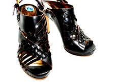 Coach Women's Black Leather High Heel Sandals