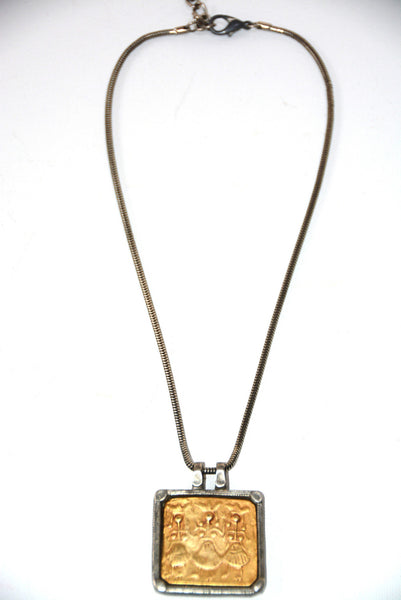 Unisex 2 Tone Pendant Necklace By Chico's