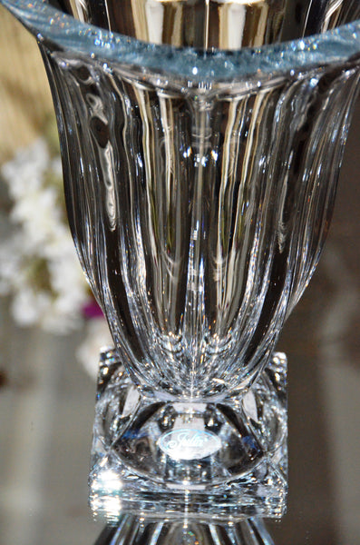 "Julia 14"" Hand Cut Crystal Vase"