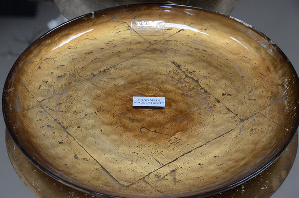 "Handmade Goldleafed Back Decorative Shallow Glass Plates - 9.75"" or 12.50"""