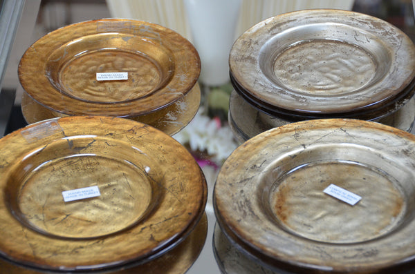 18 Pieces Handmade Goldleafed Back Decorative Glass Plates & Bowls