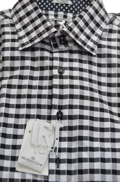 Men's Designer Shirt, Shaped Fit - Black-White Checkered Dress Shirt with exceptional stitching and details.