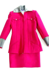 Lagerfeld Women's Designer Hot Pink Skirt Suit