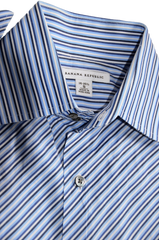 Men's Banana Republic Dress Shirt with Diagonal strips and Cufflinks. Neck Size 14 - 14 1/2 - Small