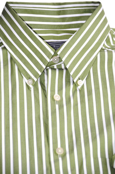 Men's Dress Shirt by Talbot. Extremely Soft Cotton, Olive Green with Vertical White Lines.