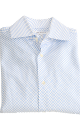 Men's Cufflink Dress Shirt by Banana Republic, White with sky blue lines. Size is Small and Neck size is 14 - 14 1/2.