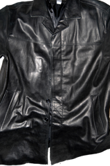 Men's XL Black Leather Coat by Banana Republic