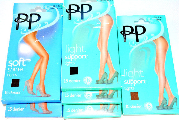 Pretty Polly (PP) Soft Shine Tights, Barely Black, 15 Denier Subtle Sheen Leg, Boxer Brief Style Body and Durable Toe with added stretch for comfort & fit. Material is 88% Nylon, 10% Elastane & 2% Cotton (Excl. Waistband)