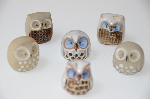 Mini Porcelain Owl Figurines (Set of 6)