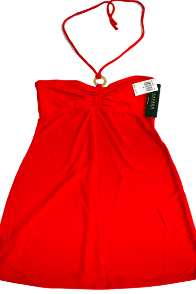 Ralph Lauren's  Red Dress with Spagetti Straps, Made in USA, Wrap-Around Neck. Size: L, 82% Polyester, 15% Nylon, 3% Spandex with 100% Nylon Lining. Made in USA.