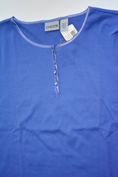 Ladies 100% Cotton, Blue Knit Top, Size 2, by CHICO'S.