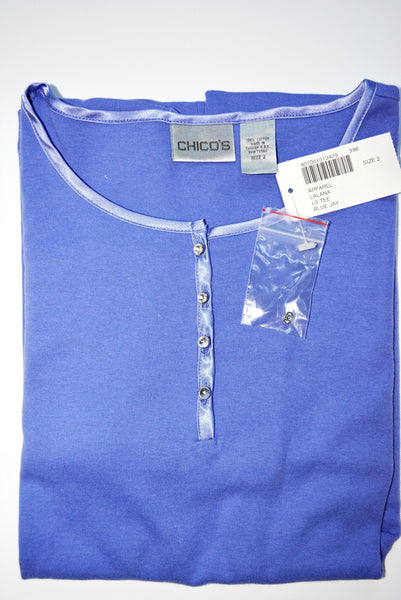 Women's 100% Cotton Blue Knit Top by CHICO'S