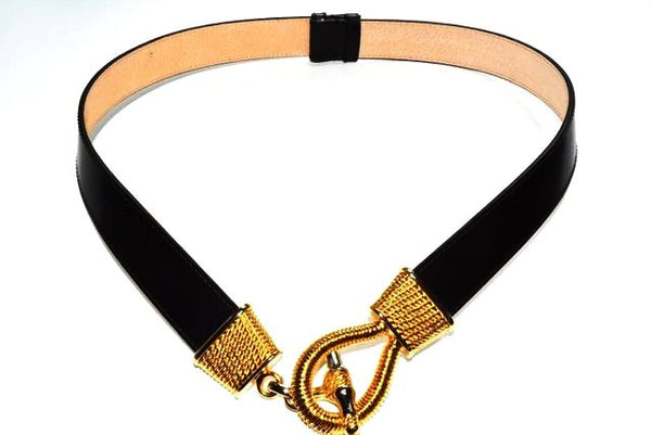 Women's Adjustable Black Leather Belt by E. Aigner