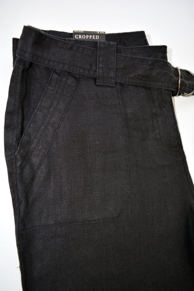 Women's Black 100% Linen Pants by Charter Club. Front & back each has 2 pockets. Size 6 Regular, Cropped.