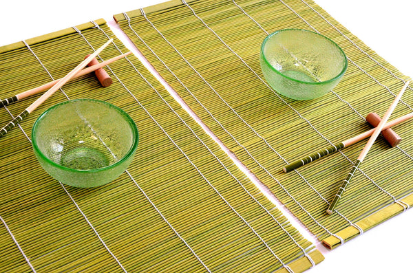 2 Person Colored Glass Rice Bowl, Bamboo Place Mat, Chopstick & Chopstick Rest.