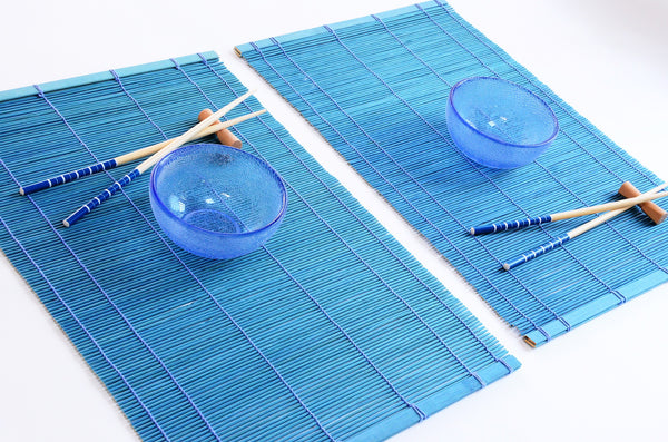Set of Glass Rice Bowls, Bamboo Placemats & Chopsticks