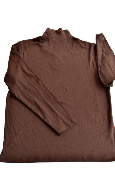 ALFANI Men's Turtle Neck Sweater with Zipper for easy wearing, 100% Soft PIMA Cotton, Size M. Brown.