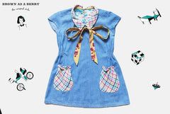 เดรสแขนสั้น 1940s Short Sleeves Denim Dress with Bow