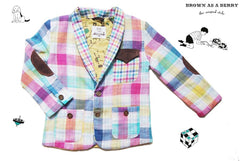 สูท Double Faced Cotton Blazer with Colourful Tartan