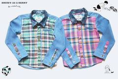 เชิ้ตแขนยาว Long Sleeve Denim Shirt with Hawaii Printed Collar