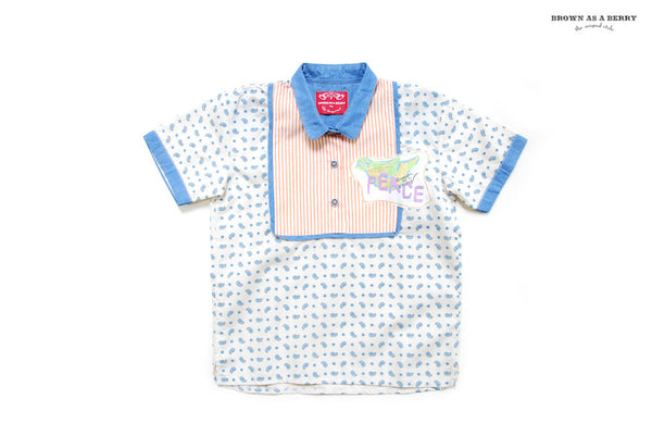 เชิ้ตแขนสั้น White Short Sleeve Shirt with Paisley Pattern