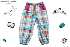 กางเกงขายาว Tartan Printed Cotton Sporty Trousers