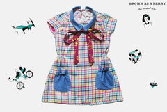 เดรสแขนสั้น 1940s Short Sleeves Tartan Dress with Bow