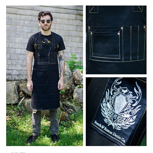 Myles Kimball in our denim apron