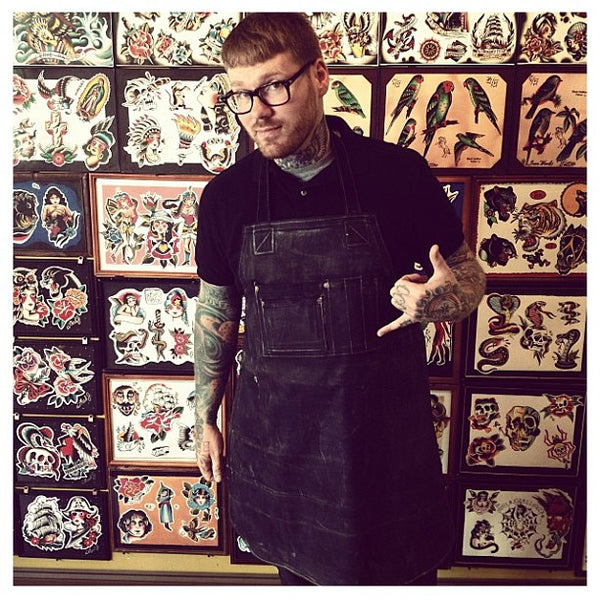 Thad Jackson in our denim tattoo apron