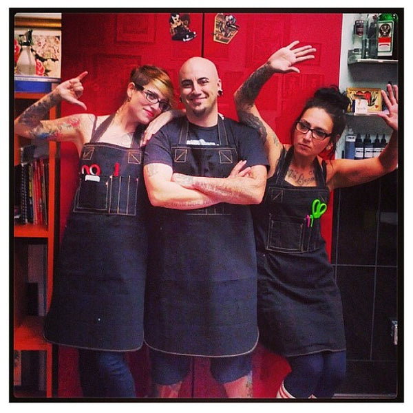 Bold Statement Tattoos wearing our aprons