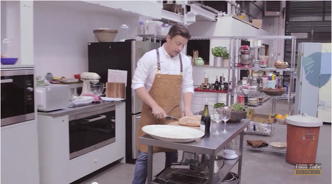 Jamie Oliver wearing Search and Rescue Denim Co. Apron