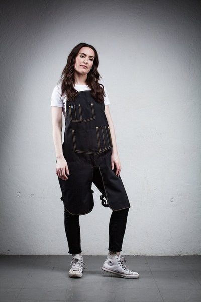Classic Split Leg Apron - Black Canvas