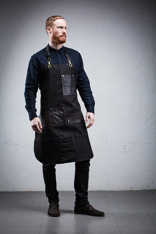 Leather Pocket Bartender Apron - Charcoal Grey Denim