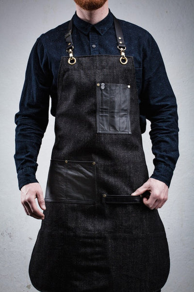 Leather Pocket Bartender Apron - Charcoal Denim