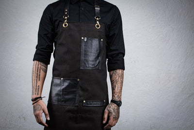 Leather Pocket Bartender Apron - Chocolate Brown Denim