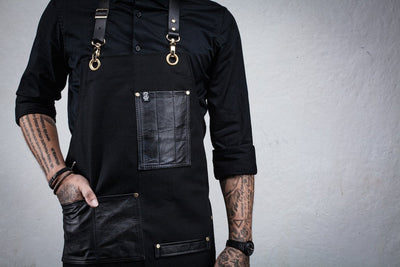 Leather Pocket Bartender Apron - Black Canvas
