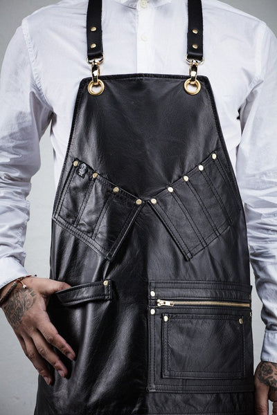 all leather barber stylist apron search and rescue denim co