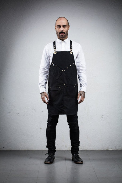 Barber & Stylist Reversible Vinyl Apron - Black Canvas