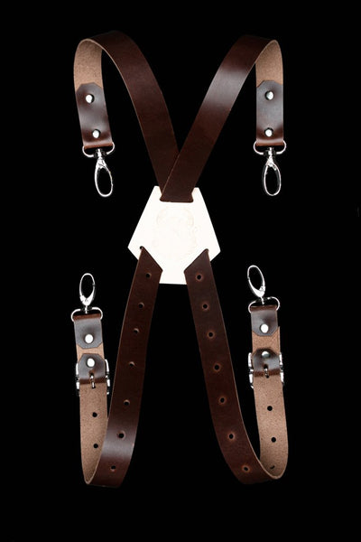 Leather X-Back Straps - Dark Brown