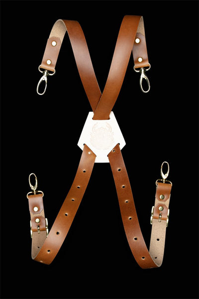 Leather X-Back Straps - Light Brown