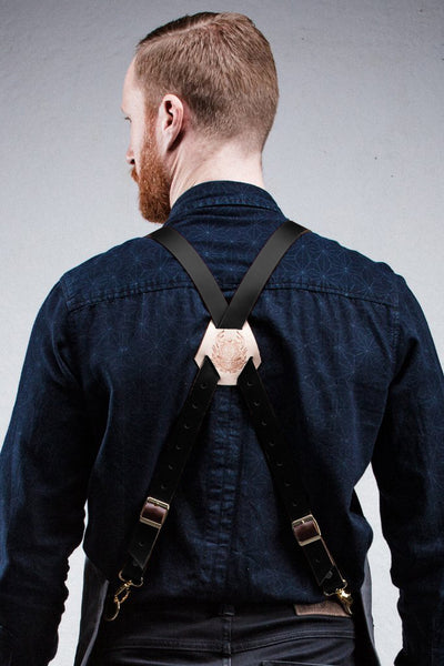Leather X-Back Straps - Black