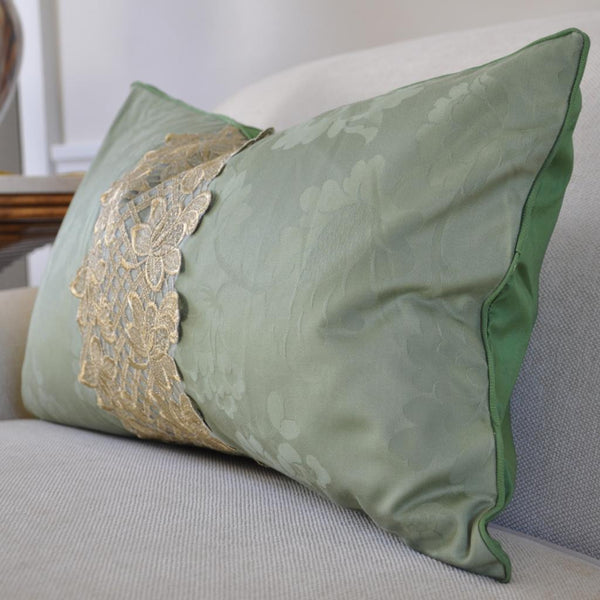 Green Lumbar Gilt Pillow