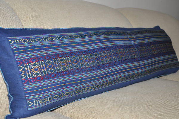 Blue Cham Long Lumbar Woven Pillow