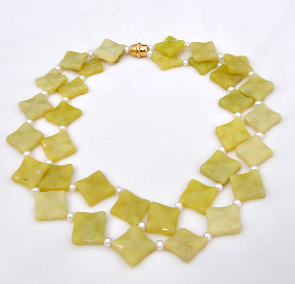 Lemon Jade and Pearl Necklace