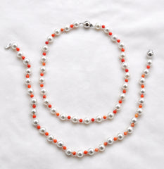 Coral and Pearl Nesting Necklaces