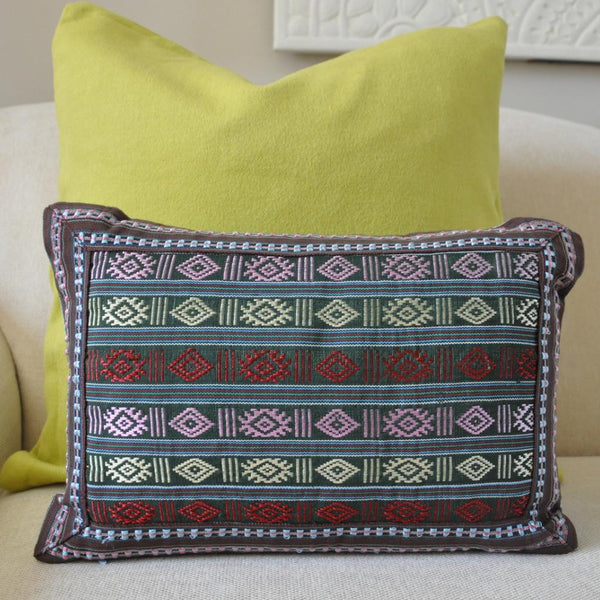 Multi Color Cham Lumbar Woven Pillow II