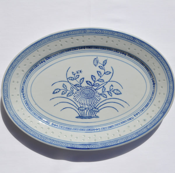 Tienshan Rice Flower Oval Platter