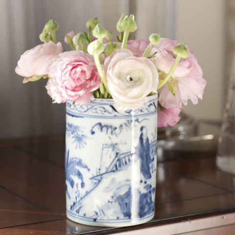 Pair Blue and White Can Vases
