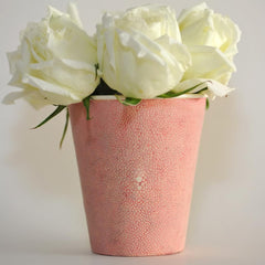 Pink Shagreen Vase with Bone Detail